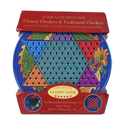 Chinese Checkers Game & Traditional Checkers Tin