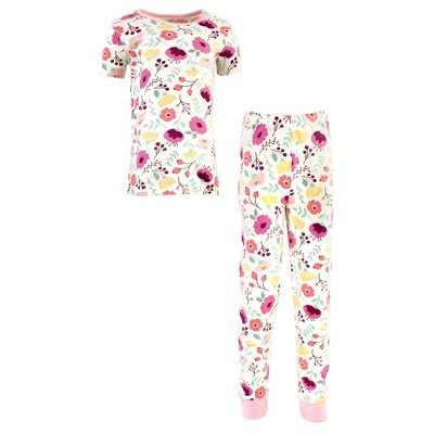 Touched by Nature Toddler and Kids Girl Organic Cotton Tight-Fit Pajama Set, Botanical
