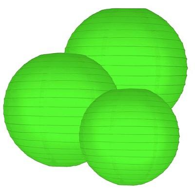 "6ct 12"" 14"" 16"" Multi Size Paper Lanterns Green"