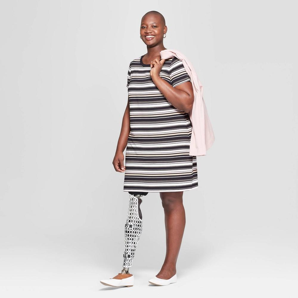 036f50691fe04f Womens Plus Size Striped Short Sleeve Crewneck T Shirt Dress Ava Viv  BlackWhite 4X
