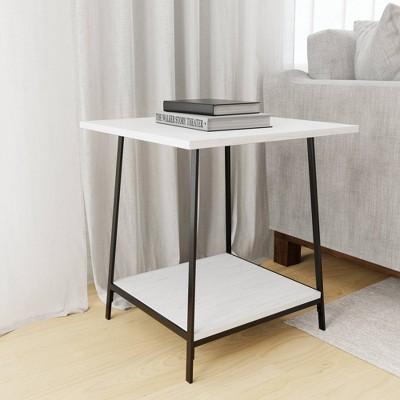 Eliza Metal and Wood End Table with Storage Shelf - Brookside Home