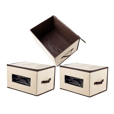Juvale 3 Pack Collapsible Fabric Storage Bins Cubes, Decorative Foldable Boxes with Window & Lid - Beige, Large, 16.25 x 12 x 10 Inches