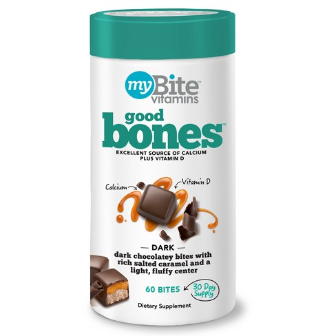 MyBite Good Bones Calcium Plus Vitamin D Supplement Chewables - Dark Chocolatey Caramel - 60ct - image 1 of 5