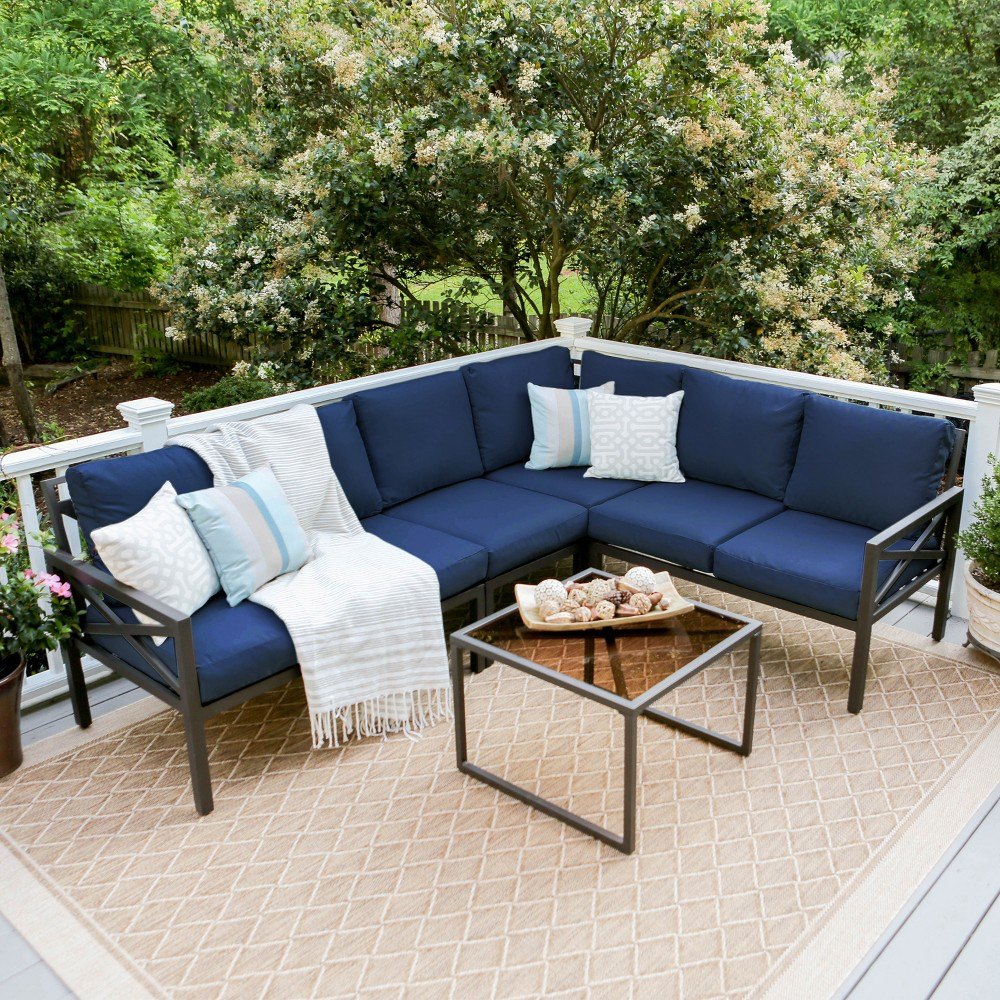 5pc Blakely Aluminum Corner Sectional Navy (Blue) - Leisure Made