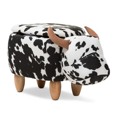 Baxton Studio Mignonne Contemporary Wool Upholstered Buffalo Storage Ottoman Cow Print