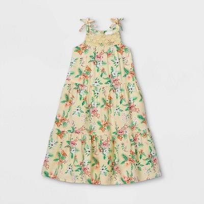 Toddler Girls' Crochet Tropical Floral Tank Dress - art class™ Cream