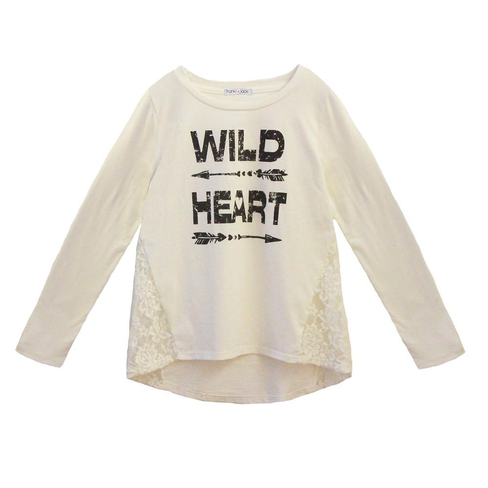 Franki & Jack Wild Heart Girls' Long Sleeve T-Shirt - White M, Size: M (7-8), Classic Ivory