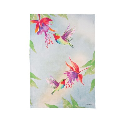 C&F Home Red Hummingbirds Embroidered Cotton Kitchen Towel