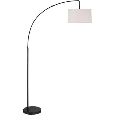 360 Lighting Contemporary Modern Style Tall Arc Floor Lamp Black White Linen Drum Shade for Living Room Reading Bedroom Home Office