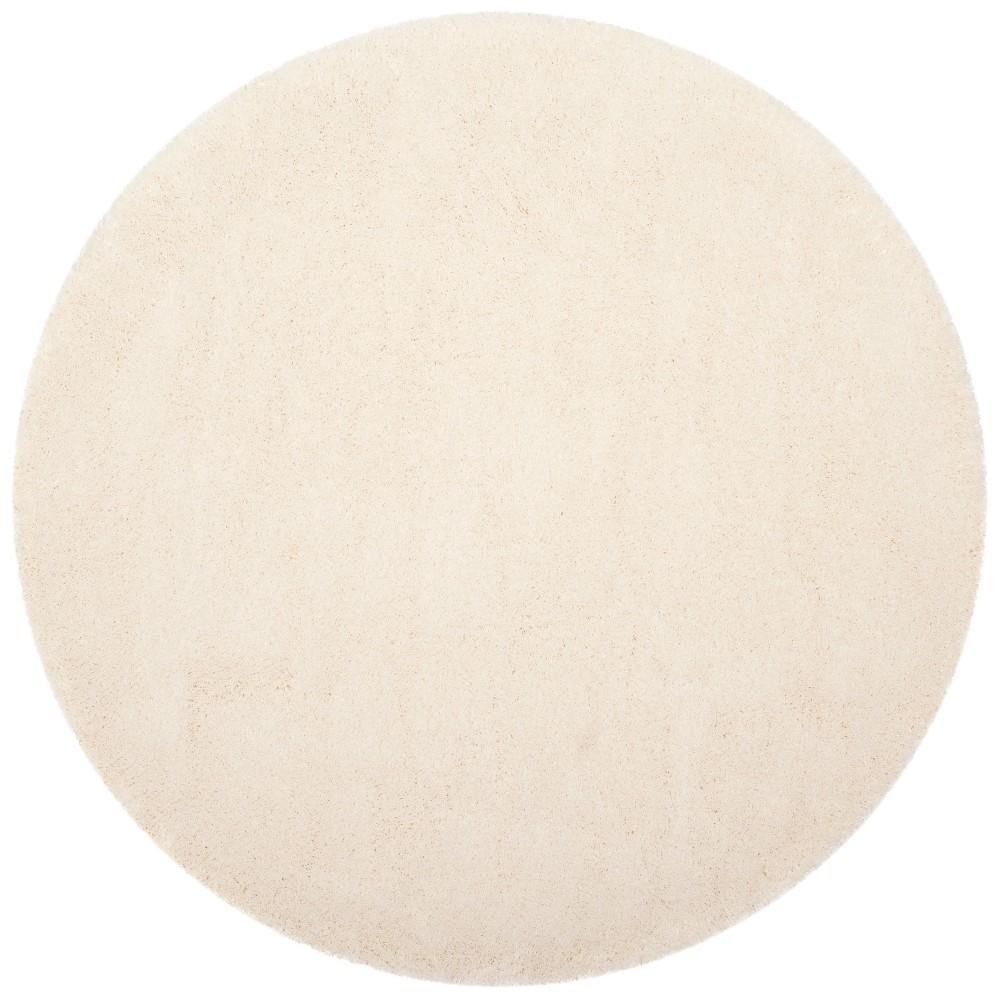 6'7 Solid Loomed Round Area Rug Cream (Ivory) - Safavieh