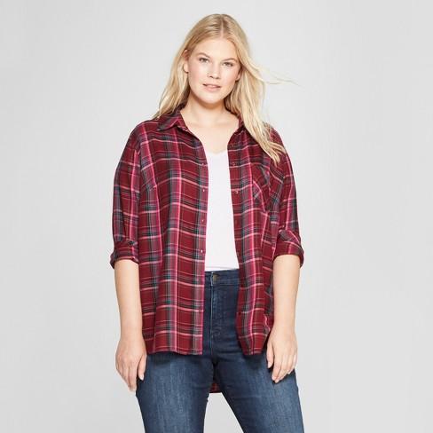 4fd0976148d Women s Plus Size Long Sleeve Plaid No Gap Button-Down Shirt - Ava   Viv™  Maroon 4X