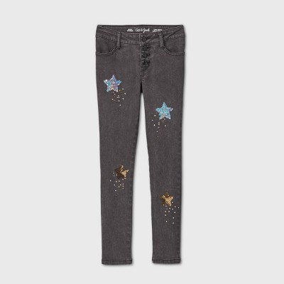Girls' Flip Sequin Star Skinny Mid-Rise Jeans - Cat & Jack™ Black Wash