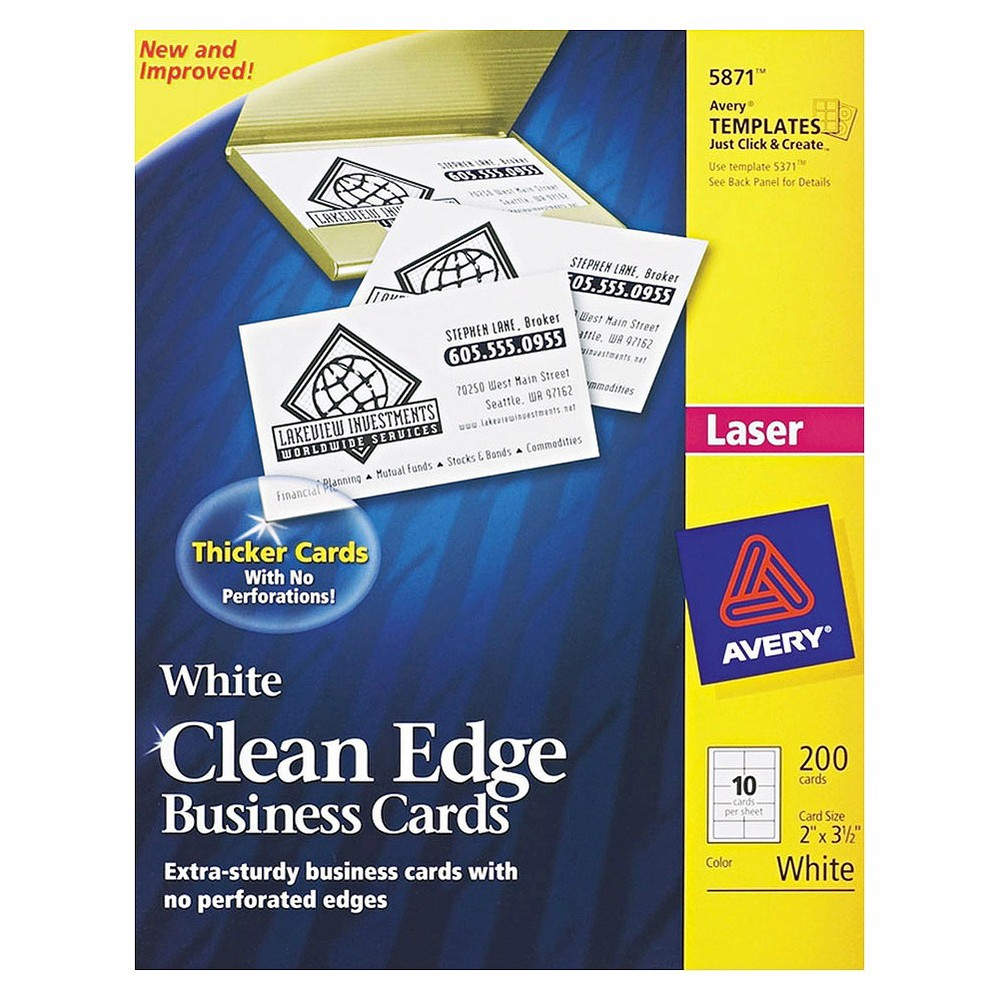 Avery Laser Two-Sided Printable Clean Edge Business Cards - White (200 pk)