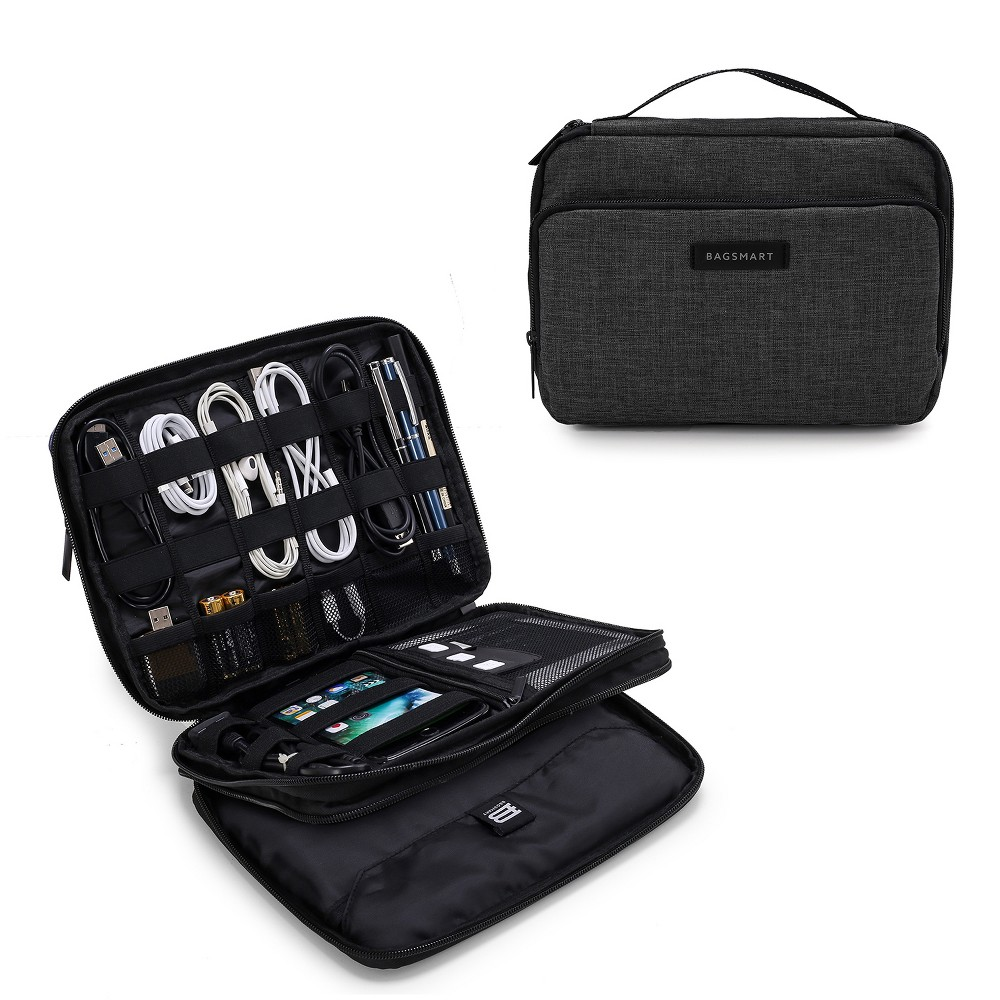 Smart Organizer 3 Layer Travel Electronics Cable Organizer Bag with Handbag Strap - Dark Gray