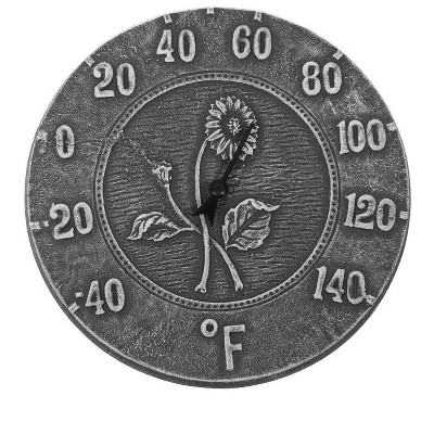 """Swim Central 12"""" Weathered Gray Terra Cotta Embossed Sunflower Indoor or Outdoor Wall Thermometer"""