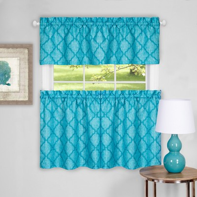 Colby Window Curtain Tier Pair and Valance Set Turquoise 58x24 - Achim