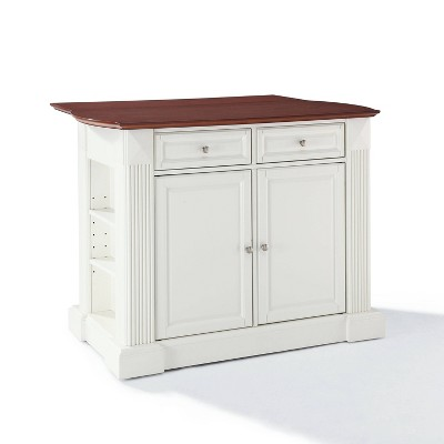 Drop Leaf Breakfast Bar Top Kitchen Island - White - Crosley