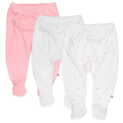 Honest Baby Girls' 3pk Love Dot Organic Cotton Footed Harem Pants - Pink 0-3M