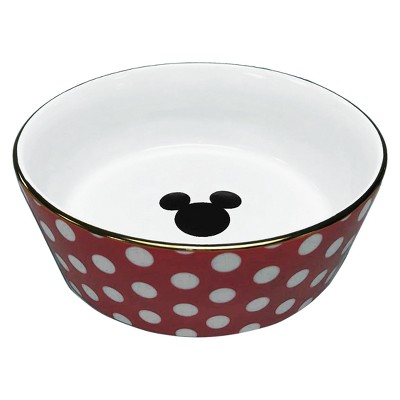 Disney® Mickey Mouse & Friends® Polka Dot Porcelain Dog Bowl - Red