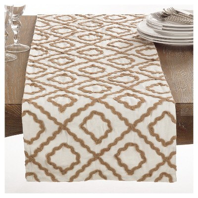 "Ivory Artemis Jute Embroidered Design Table Runner (16""x72"")- Saro Lifestyle"