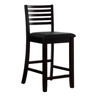 """24"""" Torino Ladder Back Counter Height Barstool Upholstered Seat - Espresso Wood - Linon"""