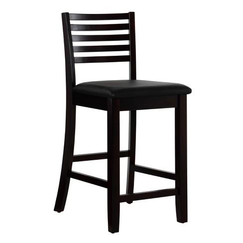 Linon Home Decor 01863esp 01 Kd U Triena Ladder Back Bar Stool Espresso, 24 Inch Height Chairs