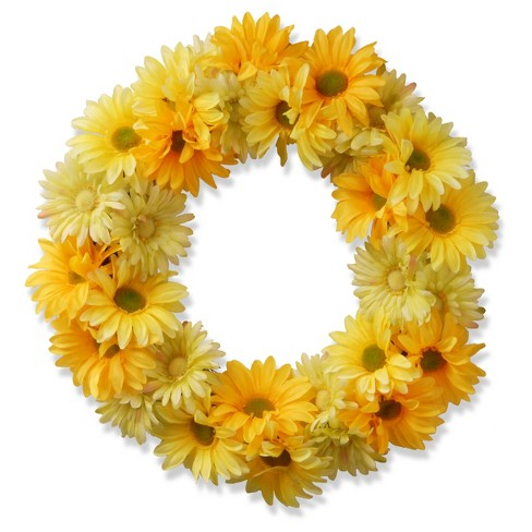 "Garden Accents Artificial Yellow Cosmos Wreath Yellow 19"" - National Tree Company® - image 1 of 1"