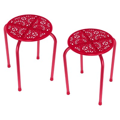 Side Table / Stool Red (Set of 2)- urb SPACE