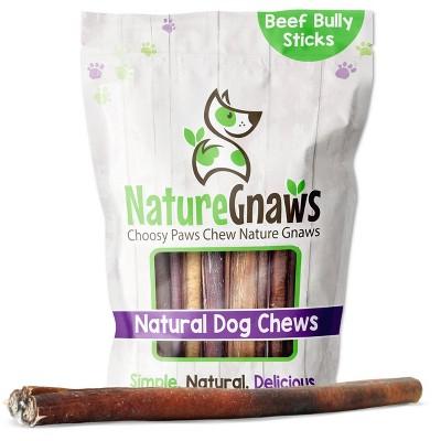 "Nature Gnaws Large Bully Sticks 11-12"" Beef Dog Treats- 5ct"