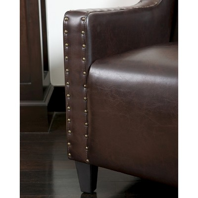 Gabriel Tufted Bonded Leather Club Chair Brown   Christopher Knight Home :  Target