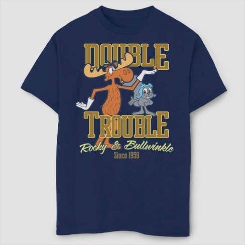 Boys' Rocky & Bullwinkle Double Trouble T-Shirt - Navy - image 1 of 2