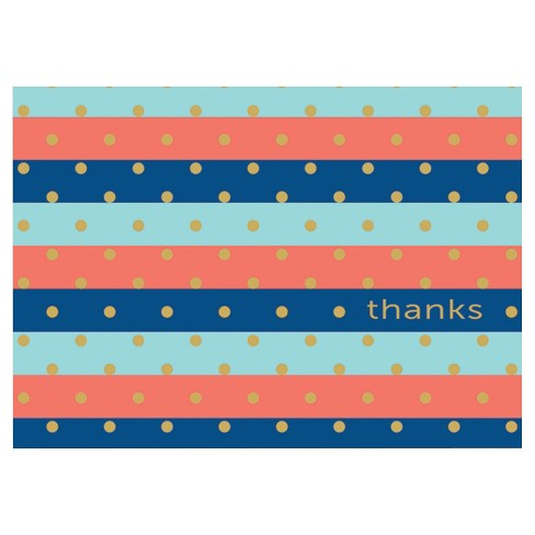 10ct Stripes with Gold Dots Contemporary Design Notecards - image 1 of 1