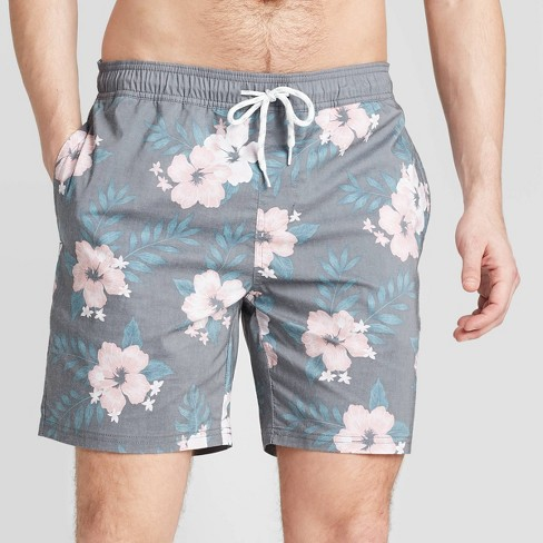 "Men's 7"" Floral Print Botanics Swim Trunks - Goodfellow & Co™ Light Pink - image 1 of 3"