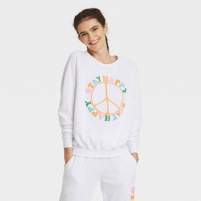 Women's Stay Happy Graphic Sweatshirt - White