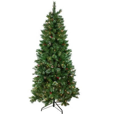Northlight 7.5' Prelit Artificial Christmas Tree Medium Glittered Mixed Pine - Clear Lights
