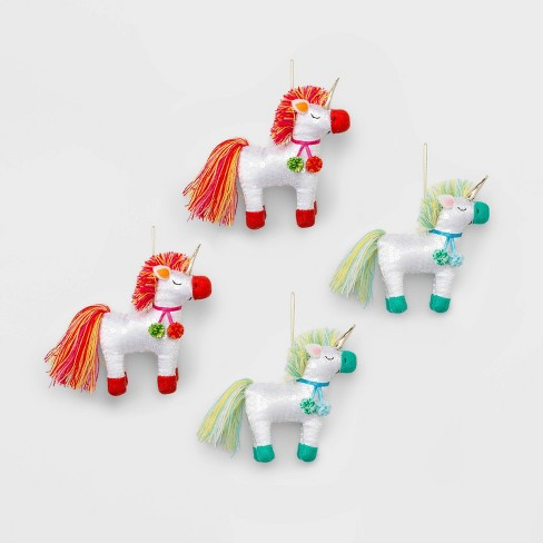 4ct Glitter Sequin Unicorns Christmas Ornament Set Blue Red Green and Pink - Wondershop™ - image 1 of 2