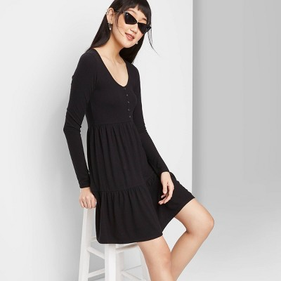 Women's Long Sleeve Round Neck Tiered Babydoll Dress - Wild Fable™