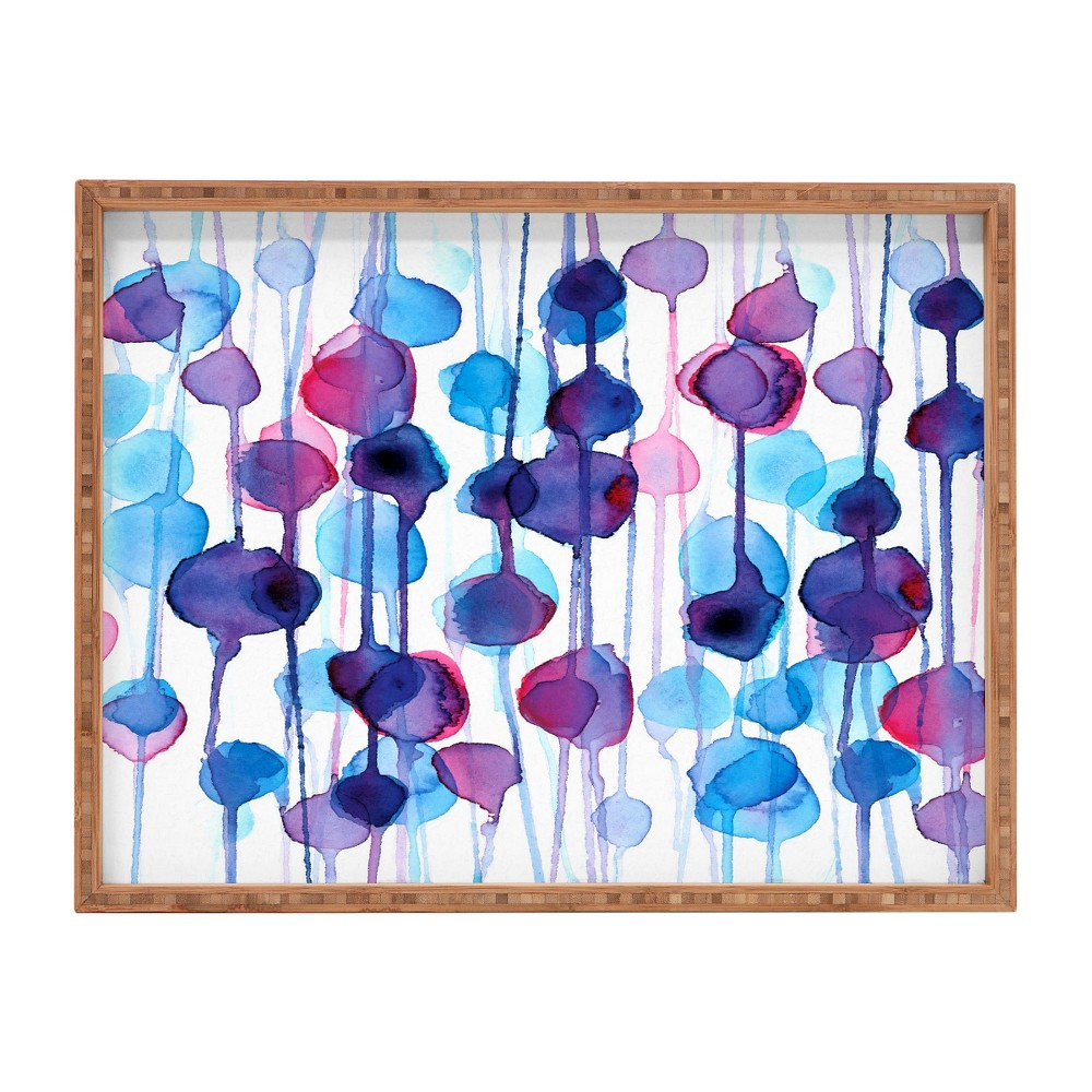 CMYKaren Abstract Watercolor Rectangle Tray - Purple - Deny Designs