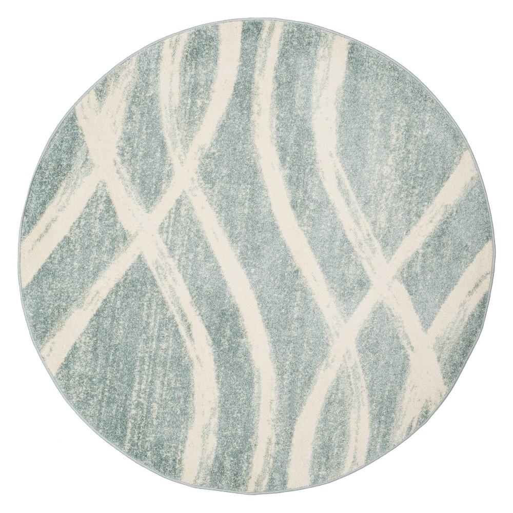 6 Wave Round Area Rug Cream Slate Safavieh