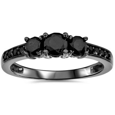 Pompeii3 1 1/5ct Heat Treated Black Diamond 3 Stone Ring 10K Black Gold