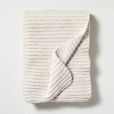 Chunky Knit Throw Blanket Heather Oatmeal - Hearth & Hand™ with Magnolia
