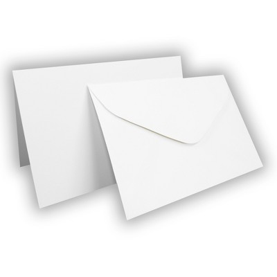 50 Matte White 4x6 Blank Folding Cards and Coordinating Sized Banker Style Envelopes - Disney..