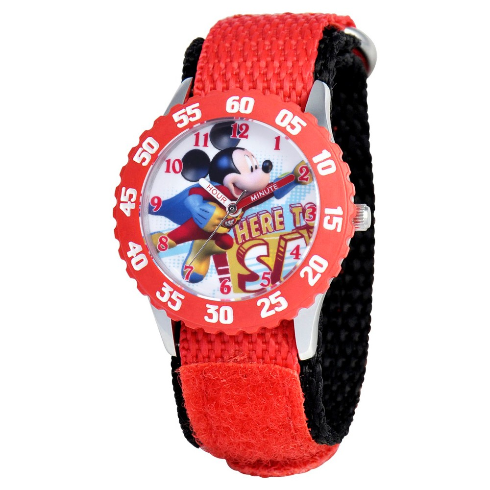 Boys' Disney Mickey Mouse Stainless Steel with Bezel Watch - Red