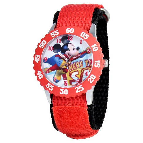 Boys' Disney Mickey Mouse Stainless Steel with Bezel Watch - Red - image 1 of 2