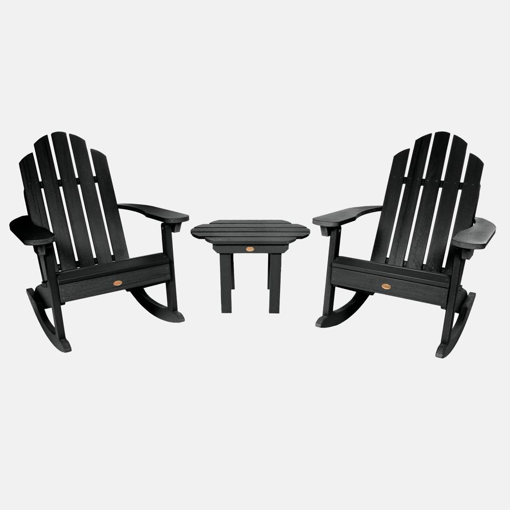 Image of 3pc Classic Westport Adirondack Rocking Chair Patio Set Black - highwood