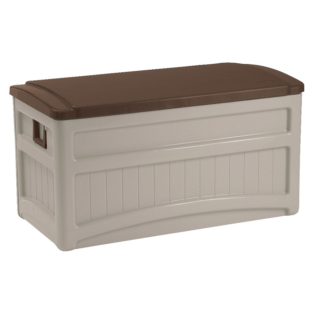 Resin Deck Box With Wheels 73 Gallon Taupe Brown Suncast