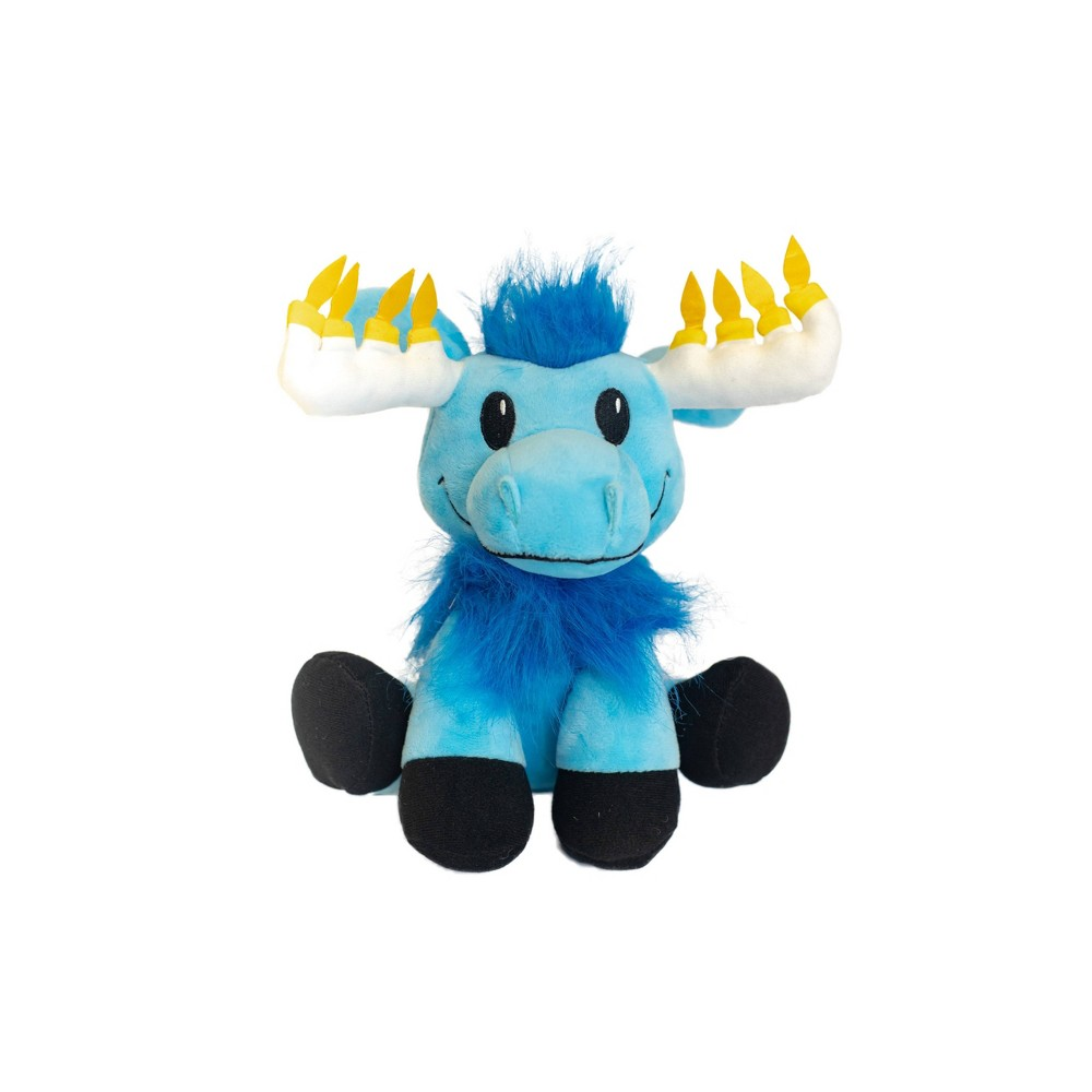 Image of Hanukkah Mitzvah Moose Stuffed Doll with Glowing Antlers Mensch on a Bench