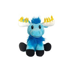Hanukkah Mitzvah Moose Stuffed Doll with Glowing Antlers Mensch on a Bench