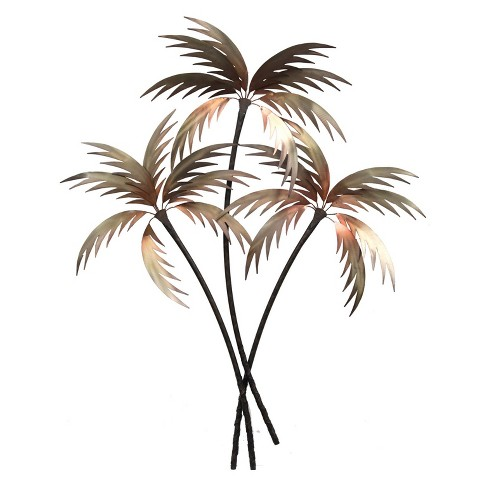 51 4 Three Palm Trees Metal Decorative Wall Art Brown Stylecraft