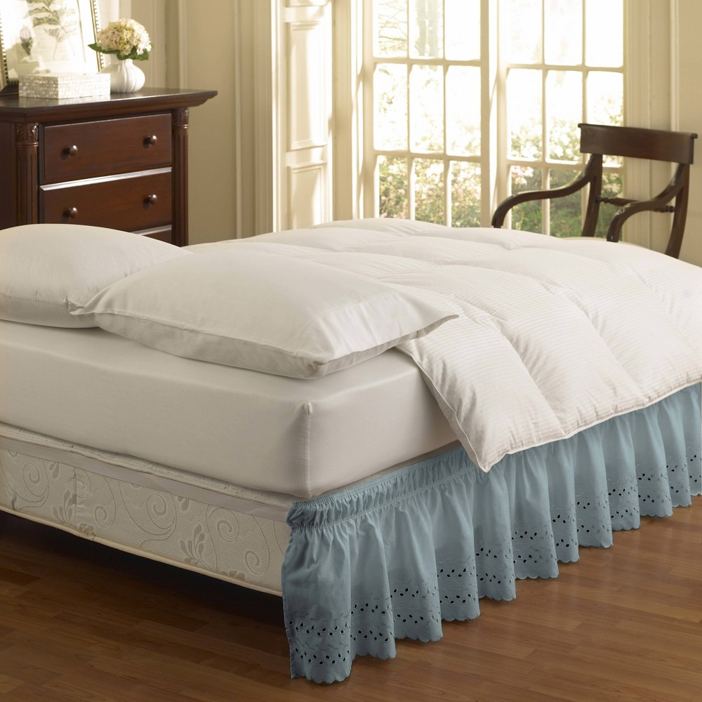 Image of Easy Fit Eyelet Ruffled Queen/King Bedskirt Dusty Blue
